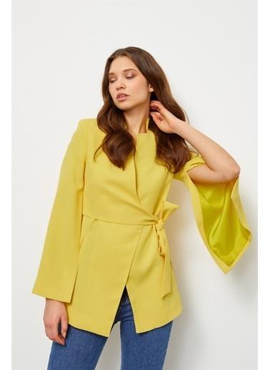 Setre Pembe Kruvaze Pelerin Ceket Sarı